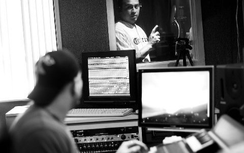producer mr. mig in the studio with The Phillys' Carlos Ruiz working on Cintron commercial